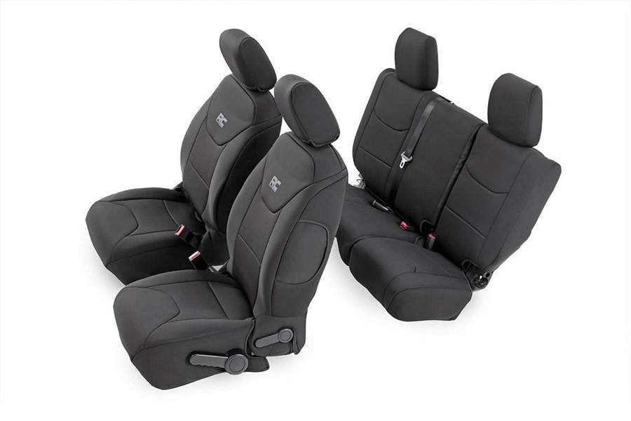 Rough Country Front and Rear Neoprene Seat Cover Set - Black - JK 2013+