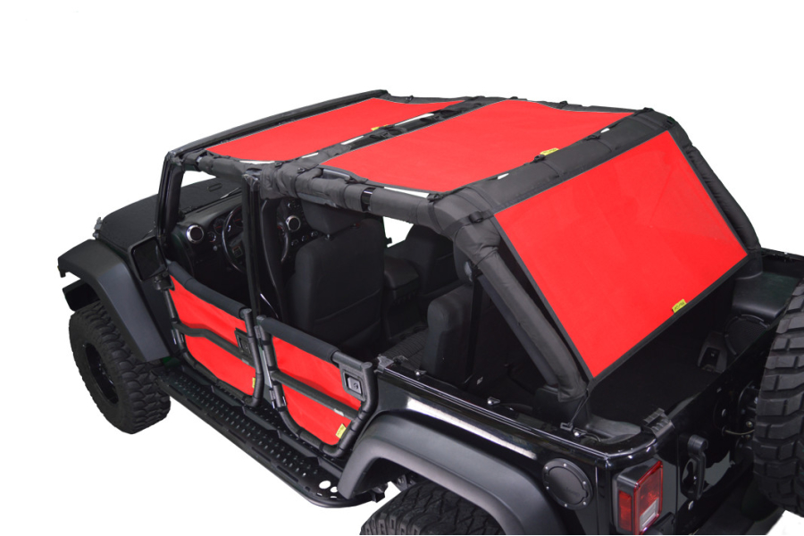 Dirty Dog 4x4 Sun Screen Front and Back Seats Red (Part Number:J4SS07F2RD)