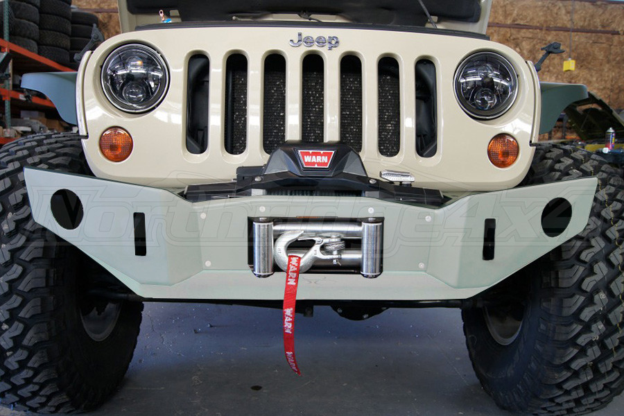 Nemesis Industries Voyager Front Bumper w/ Winch Plate Offset Drum - Unfinished, Aluminum - JK