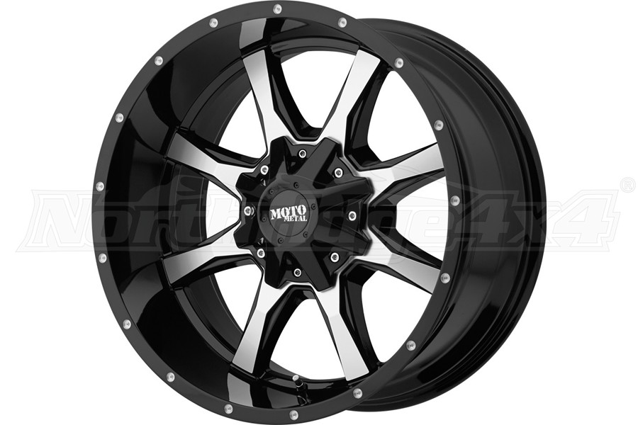 Moto Metal Wheels MO970 Series Wheel, Gloss Black w/ Machined Face 17x8 5x5/5x5.5 - JT/JL/JK