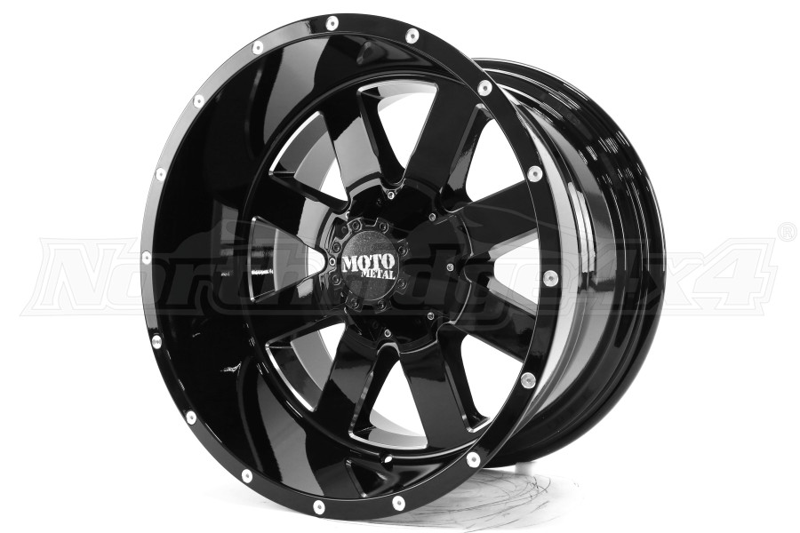 Moto Metal Wheels MO962 Gloss Black With Milled Accents 20x12 8x6.5 (Part Number:MO96221280344N)