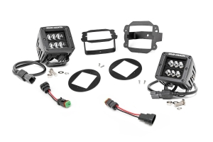 Rough Country 2in Black Series Fog Light Kit - JK 2007-09