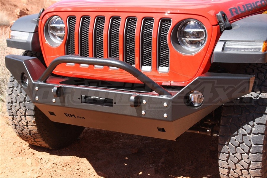 Rock Hard 4x4 Patriot Series Full Width Front Bumper with Lowered Winch Mount, Black (Part Number:RH-90245)