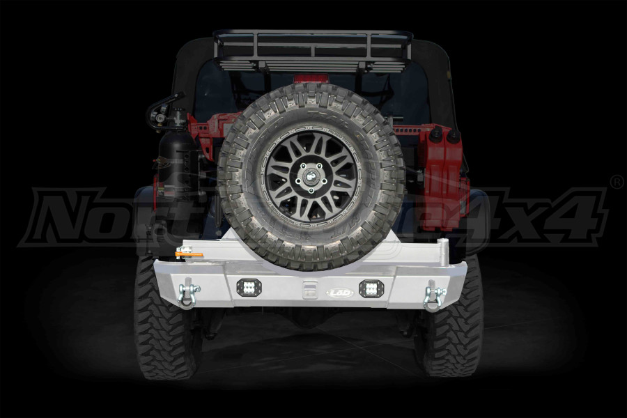 LOD Signature Series Armor Lite Gen 4 Shorty Rear Bumper w/Tire Carrier and Rigid Light Cut Outs Bare Steel ( Part Number: JBC0754)