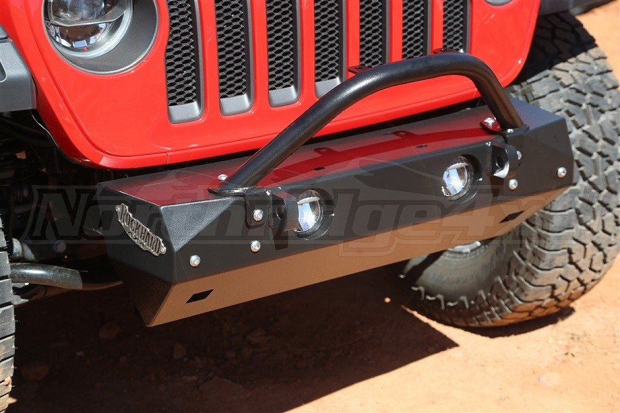 Rock Hard 4x4 Stubby Front Bumper Winch Guard with Light Mount  (Part Number:RH-90208)