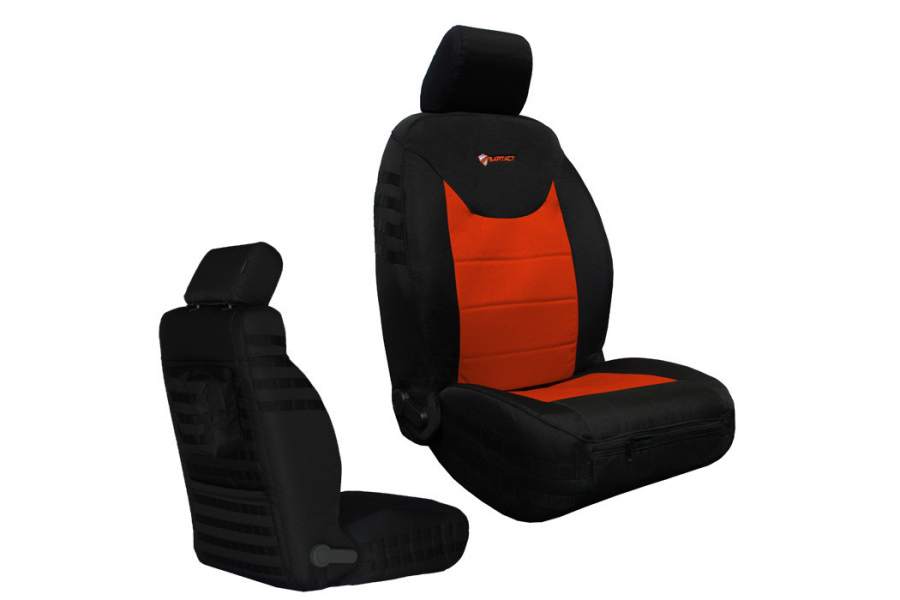 Bartact Front Seat Covers Non-Air Bag Compliant Black/Orange (Part Number:JKSC2013FPBN)