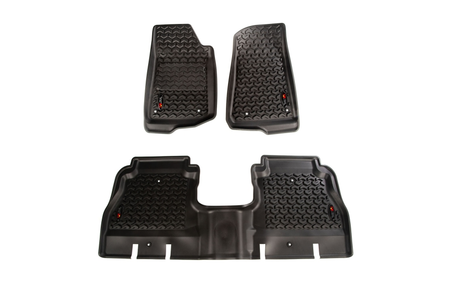 Rugged Ridge Front and Rear Floor Liners, Black  - JL 4Dr