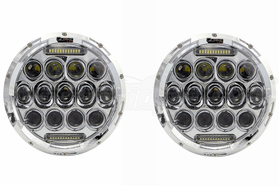 Quake LED Tempest Series 7in RGB Headlights, Chrome - Quad Lock/Interlock Compatible - JK/TJ