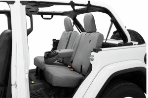 Bestop Rear Seat Covers w/Folding Armrest - Charcoal/Gray - JL 4dr
