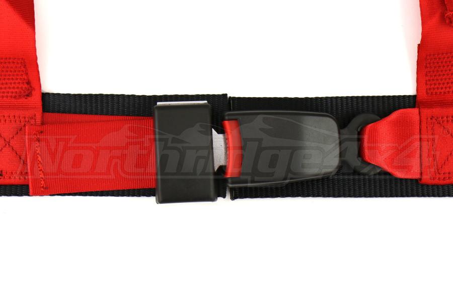 Corbeau 3-Point Double Release Harness Belt Red Bolt-in