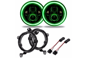 Oracle 7in. High Powered LED Headlights - Pair - Green - JT/JL