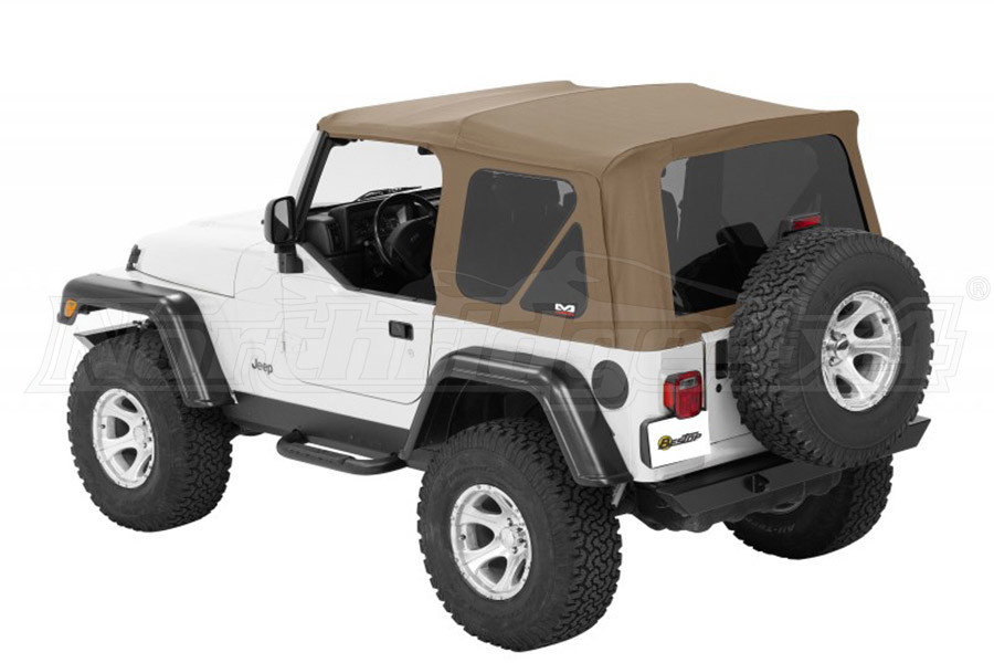 Bestop Twill Supertop NX Soft Top with Tinted Rear and Side Windows, No Doors, Complete Soft Top - Tan Twill (Part Number:54822-71)