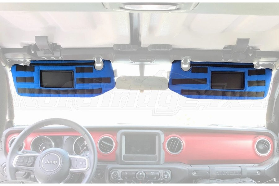 Bartact Visor Covers w/ PALS Webbing for MOLLE Attachments, Pair - Blue - JL- for Visors w/ Mirrors