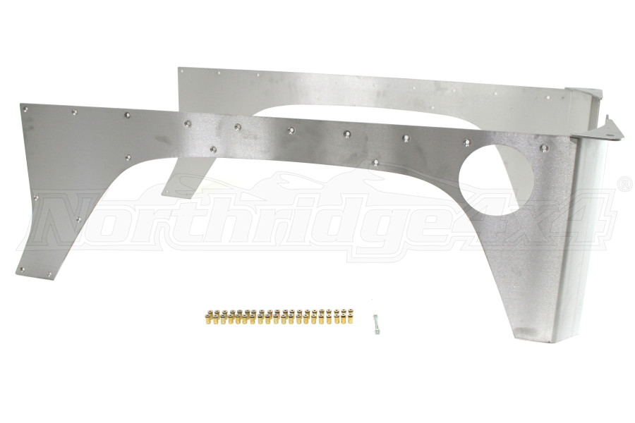 EVO Manufacturing Aluminum RockSkin Rear Corners Bare (Part Number:1070-2DAL)