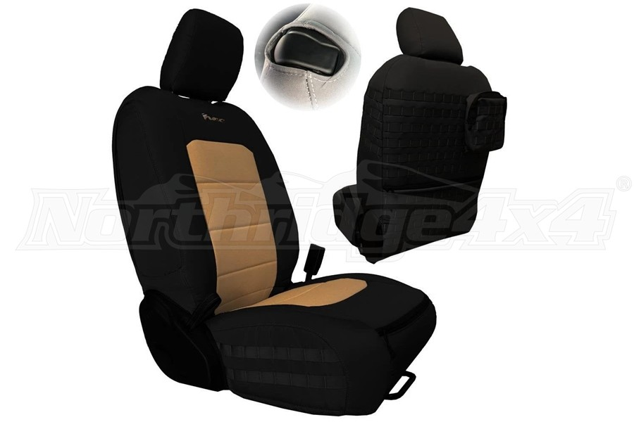 Bartact Tactical Series Front Seat Covers, SRS Air Bag and Non-Compliant - Black/Khaki  - JL 2Dr