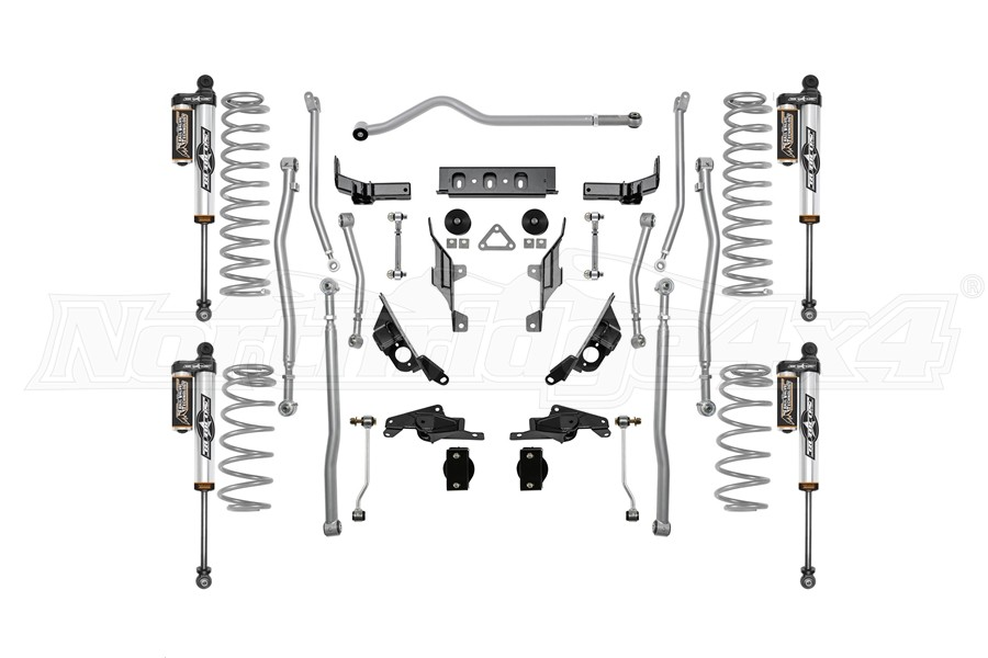 Rubicon Express 1.5/2.5in Extreme Duty 4-LINK Long Arm Lift Kit with Piggyback Reservoir Shocks - JL 4dr