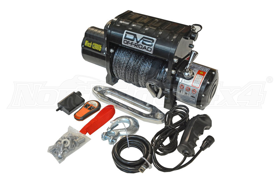 DV8 Offroad Winch w/Synthetic Line and Wireless Remote 12,000lb