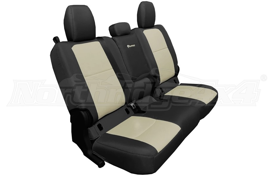 Bartact Tactical Series Rear Bench Seat Cover w/ Fold Down Arm Rest - Black/Khaki - JT