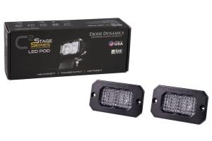 Diode Dynamics SS2 Sport Flush Mount LED Pods - White/Red Flood