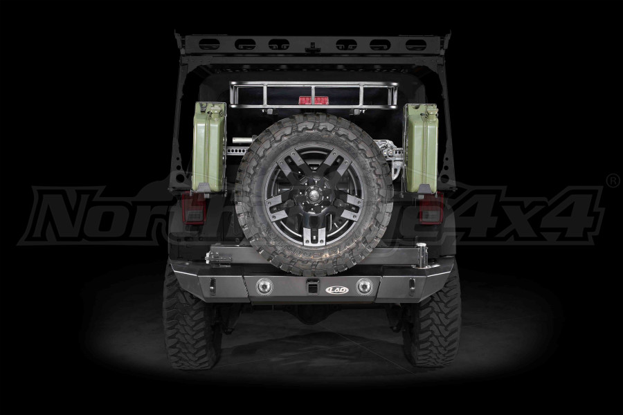 LOD Signature Series Full Width Rear Bumper w/Tire Carrier and Round Light Cut Outs Black (Part Number:JBC0763)