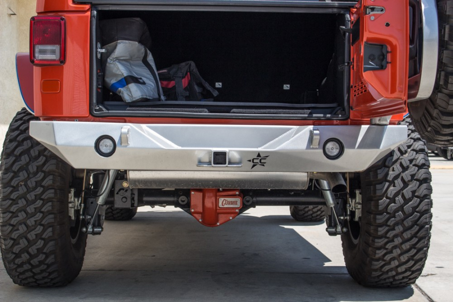 Crawler Conceptz Ultra Series II Rear Bumper with Lights, Hitch, Tabs & Tire Carrier (Part Number:US-RB2-202)