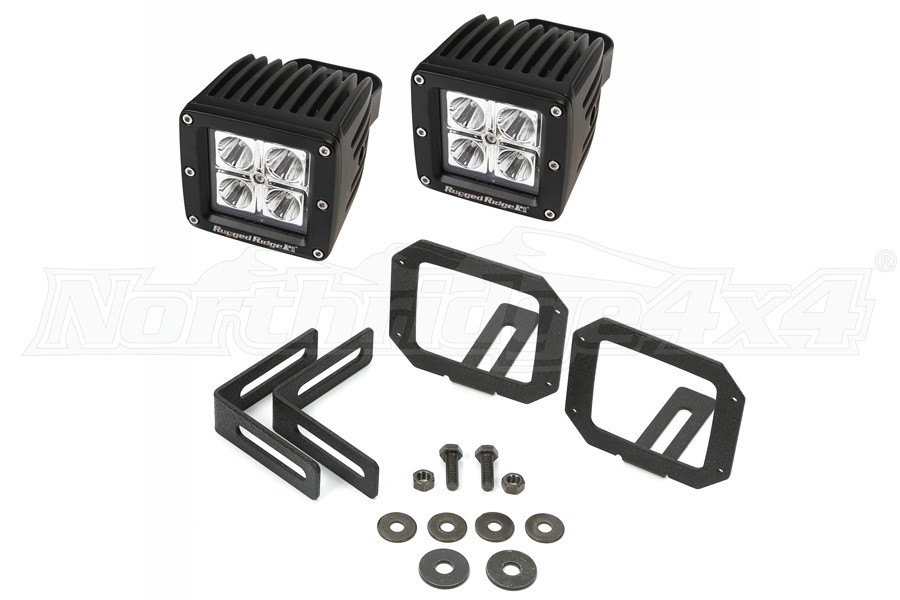 Rugged Ridge LED Light & Mount Kit, Square (Part Number:11232.28)