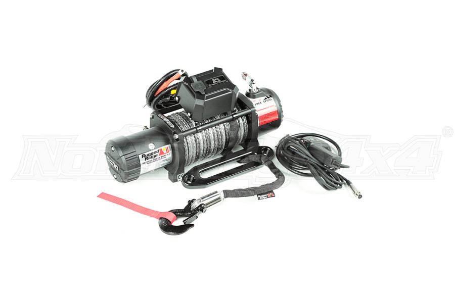 Rugged Ridge Winch, 9500 LBS, Synthetic Rope, Waterproof (Part Number:15100.06)