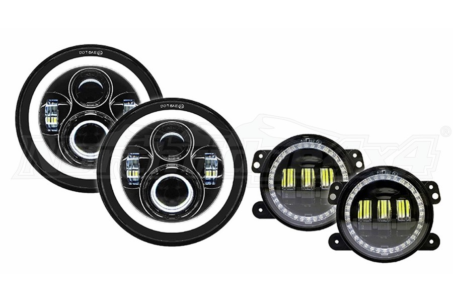 Quake LED 7in Headlights & LED Fog Lights - JK/LJ/TJ/CJ