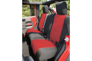 Rugged Ridge Rear Seat Cover Black/Red - JK 4dr