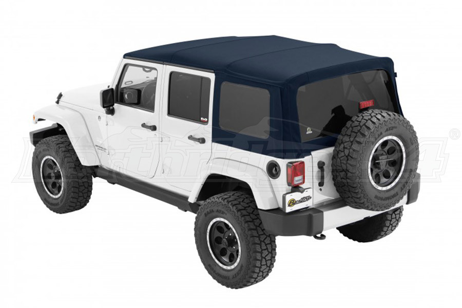 Bestop Twill Supertop NX Soft Top with Tinted Rear & Side Windows, No Doors, Blue Twill (Part Number:54823-69)