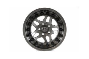 Hutchinson Rock Monster Beadlock Wheel w/Black Caps Argent 15x8in 5x4.5