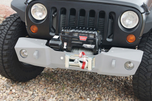 Nemesis Industries Odyssey Front Bumper w/ Winch Plate Offset Drum - Texture Black Powder Coating - JK