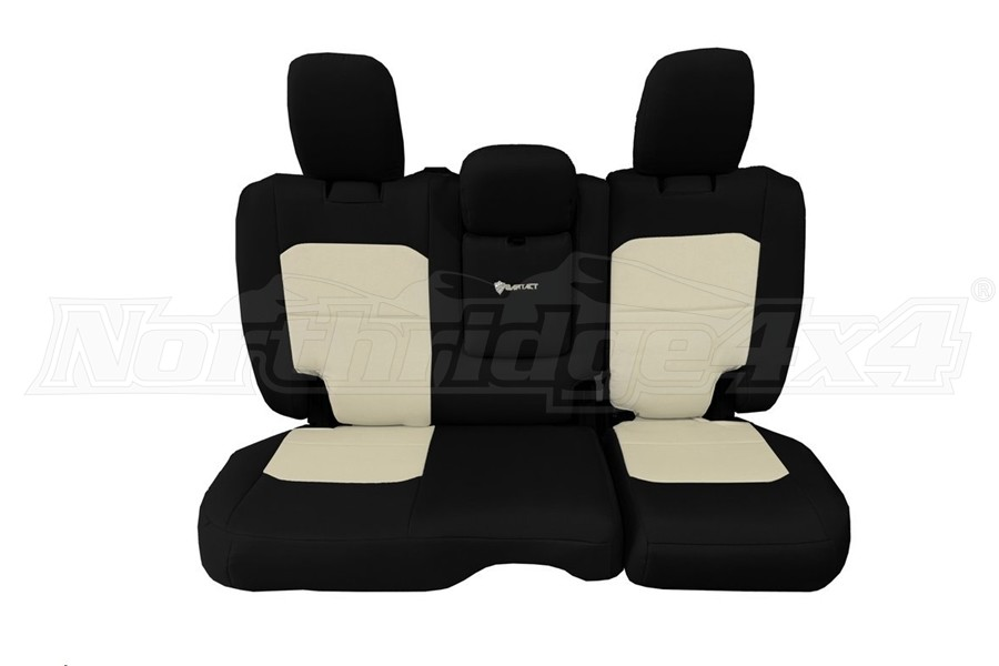 Bartact Tactical Rear Seat Cover w/Fold Down Armrest Black/Khaki (Part Number:JLSC2018RFBK)