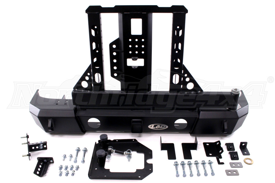 LOD Signature Series Armor Lite Gen 4 Shorty Rear Bumper w/Door Linked Carrier and Round Cut Outs, Black - JK