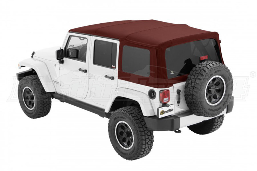 Bestop Supertop NX Soft Top with Tinted Rear & Side Windows, No Doors, Red Twill - JK 4DR