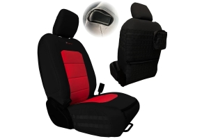 Bartact Tactical Series Front Seat Covers, SRS Air Bag and Non-Compliant - Black/Red  - JL 2Dr