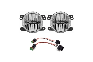KC Hilites LED G4  Clear Fog Lights - JT/JL Sahara & Rubicon Stock Bumper