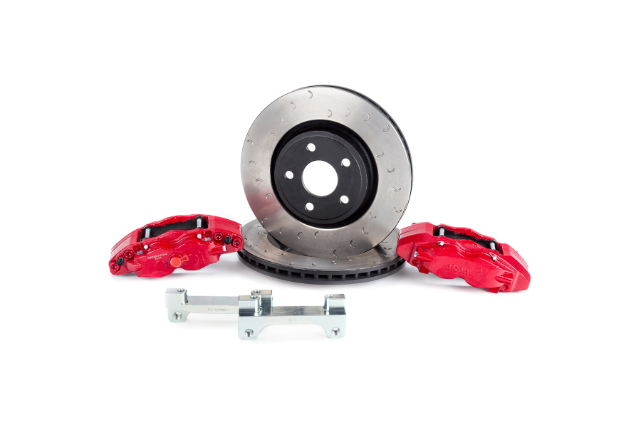 Alcon Heavy Duty Front Brake Kit 4-Piston Red Calipers 350x32mm Rotors - JK