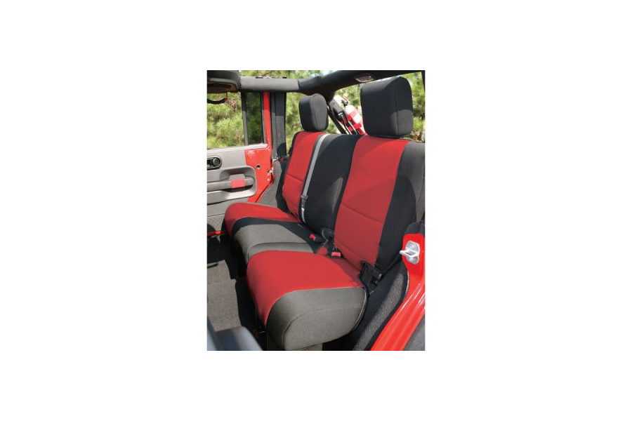 Rugged Ridge Rear Seat Cover Black/Red - JK