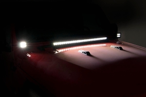 Rough Country 2in Black-Series LED Lower Windshield Kit - w/ White DRL - JT/JL except Moab Models