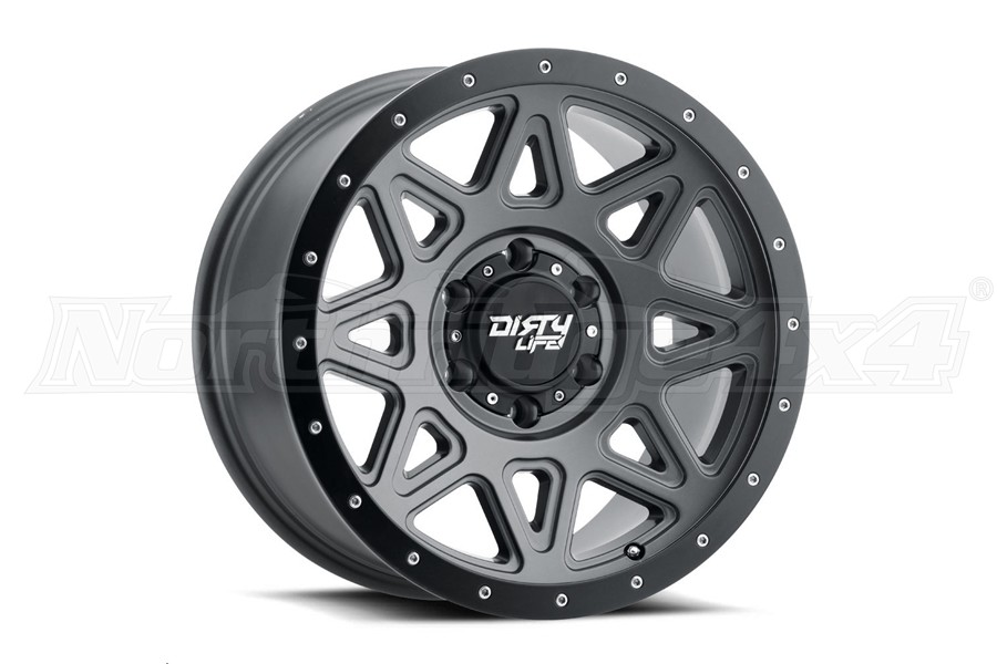 Wheel-1 Dirty Life 9305 Theory Series Non-Beadlock Wheel, Matte Gunmetal w/ Matte Black Lip 17X9 5x5 (Part Number:9305-7973MGT)