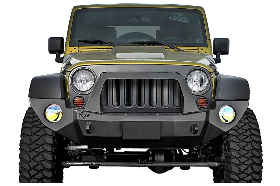 Rock-Slide Engineering Aluminum Series Shorty Front Bumper With Bullbar (Part Number:FB-S-103-JKA)