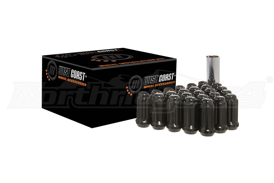 West Coast 8 Lug 14X1.5 Closed End Lug Nuts, Black 32 pieces