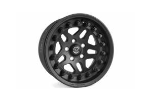 Hutchinson Rock Monster Aluminum Alloy Wheel w/Black Caps Matt Black 17x8.5 5x4.5
