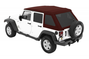 Bestop Trektop NX Glide Soft Top with Tinted Side & Rear Windows - Red Twill - JK 4DR