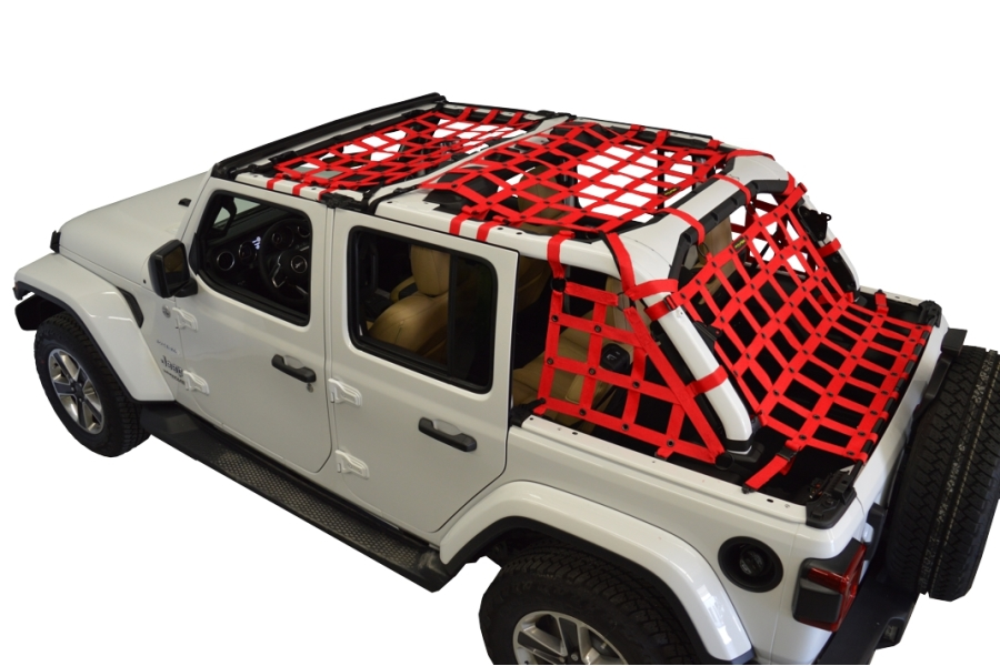 Dirty Dog 4x4 5pc Cargo Side Netting Kit, Red - JL 4Dr