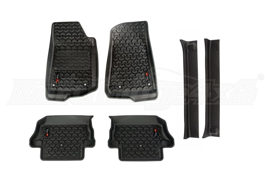 Rugged Ridge All Terrain Floor Liner Kit w/Door Entry Guards Package - JL 2Dr