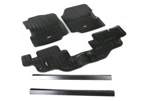 Rugged Ridge All Terrain Floor Liner Kit w/Door Entry Guards Package - YJ/CJ