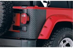 Bushwacker Trail Armor Rear Corner Guards, Pair - Diamond Black - TJ