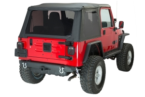 Fishbone Offroad Rear Bumper w/ Receiver Hitch and D-Rings - TJ/YJ